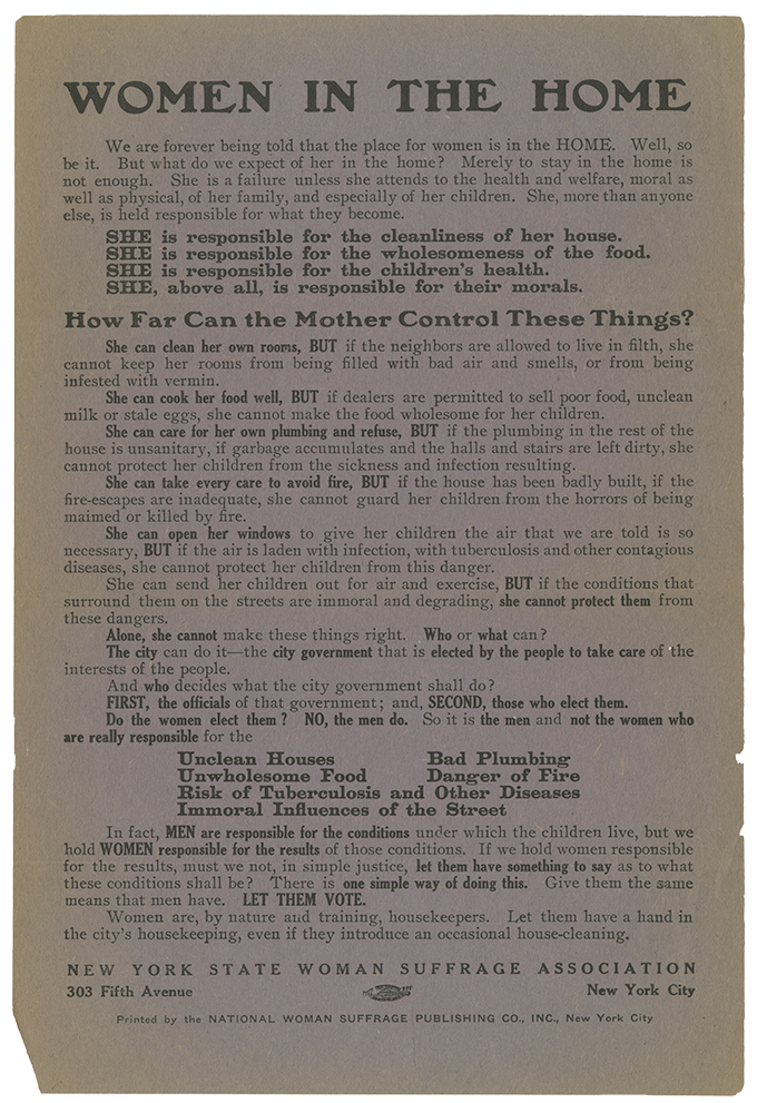 """A broadside produced by the New York State Woman Suffrage Association titled """"Women in the Home"""" that advocates for suffrage."""