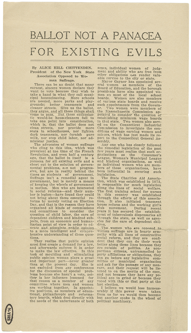 """An image of an anti-suffrage essay written by Alice Hill Chittenden, the president of the New York State Association Opposed to Woman Suffrage. Her essay is titled """"Ballot Not a Panacea For Existing Evils."""""""