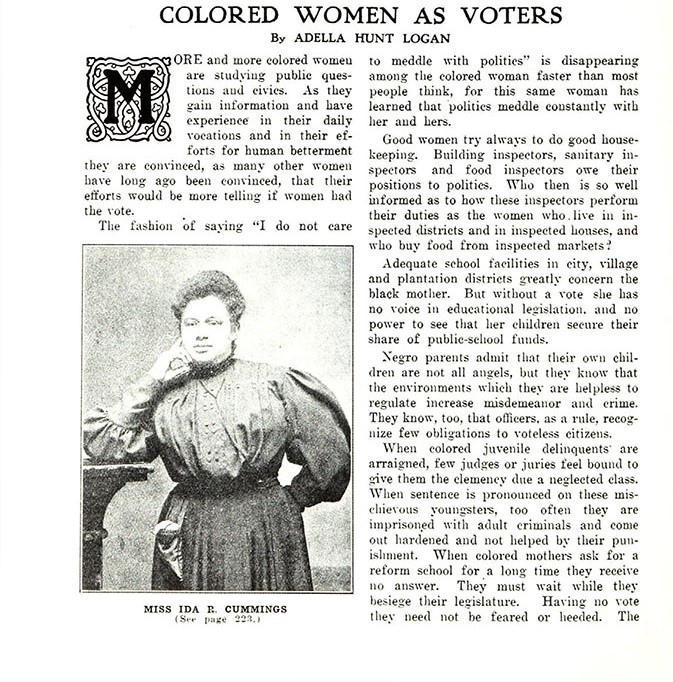 The first page of an article written by Adella Hunt Logan outlining the reasons why Black women should have and use the vote.