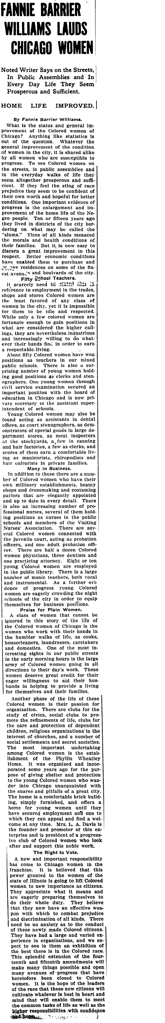"""An article written by Fannie Barrier Williams for the """"Chicago Defender,"""" a Black-owned newspaper. In the article, which was published in 1914, Williams describes the opportunities for Black women in Chicago."""