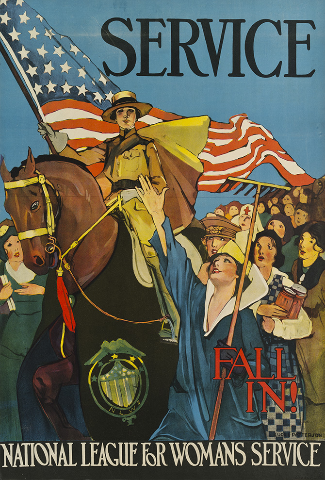"""A National League for Woman's Service poster advocating that women join the war effort. Text on the poster reads: """"Service. Fall in!"""" In the center of the image, a woman in a brown uniform, on a horse, holds an American flag. Other women look up to her. Some appear to be wearing other uniforms, nurse's outfits, and civilian clothing. One woman holds cans and another holds a farming tool. All of the women in the image appear to be white."""