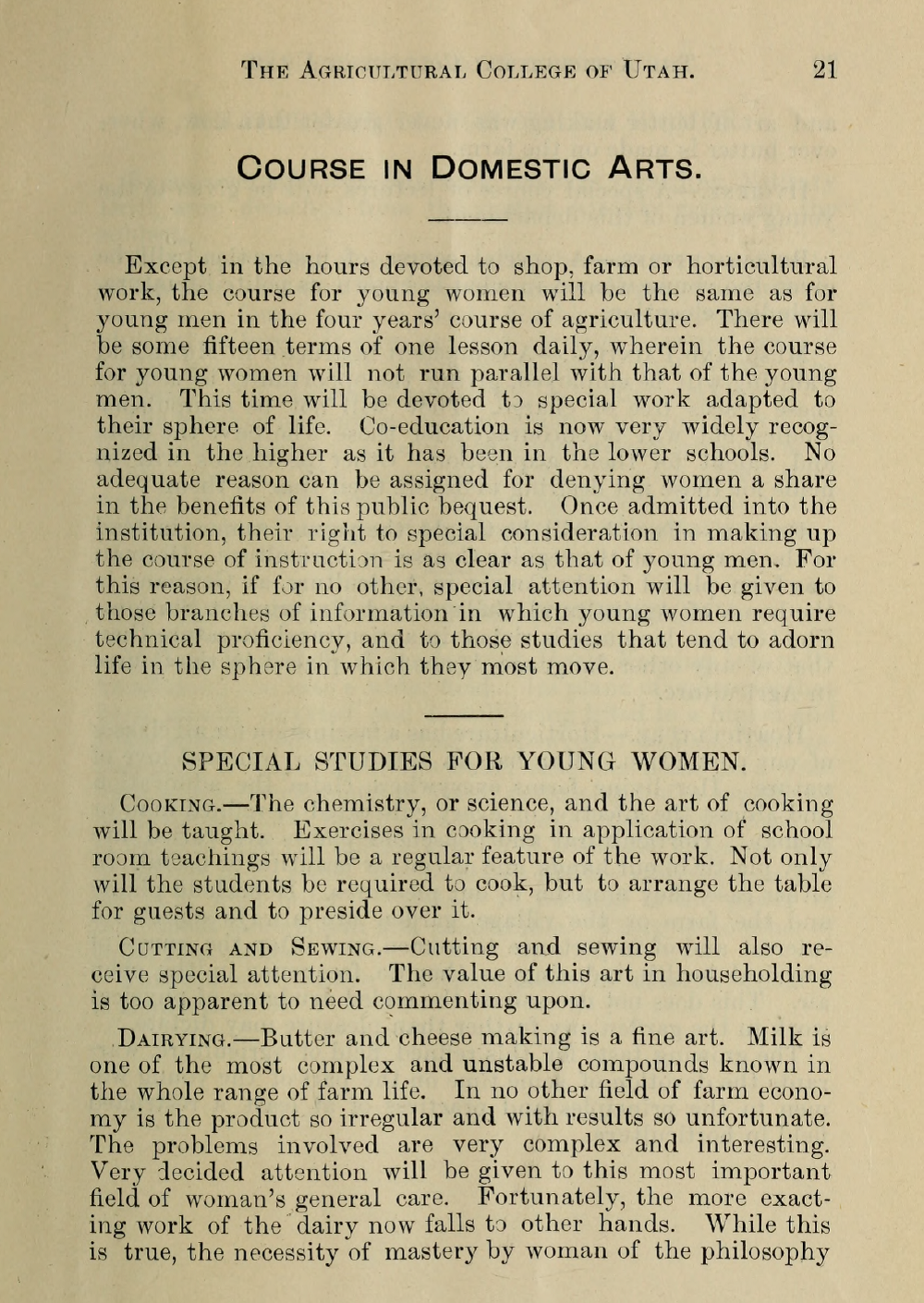 The first of a two-paged excerpt from the Agricultural College of Utah coursebook that outlines classes for young women studying Domestic Arts.