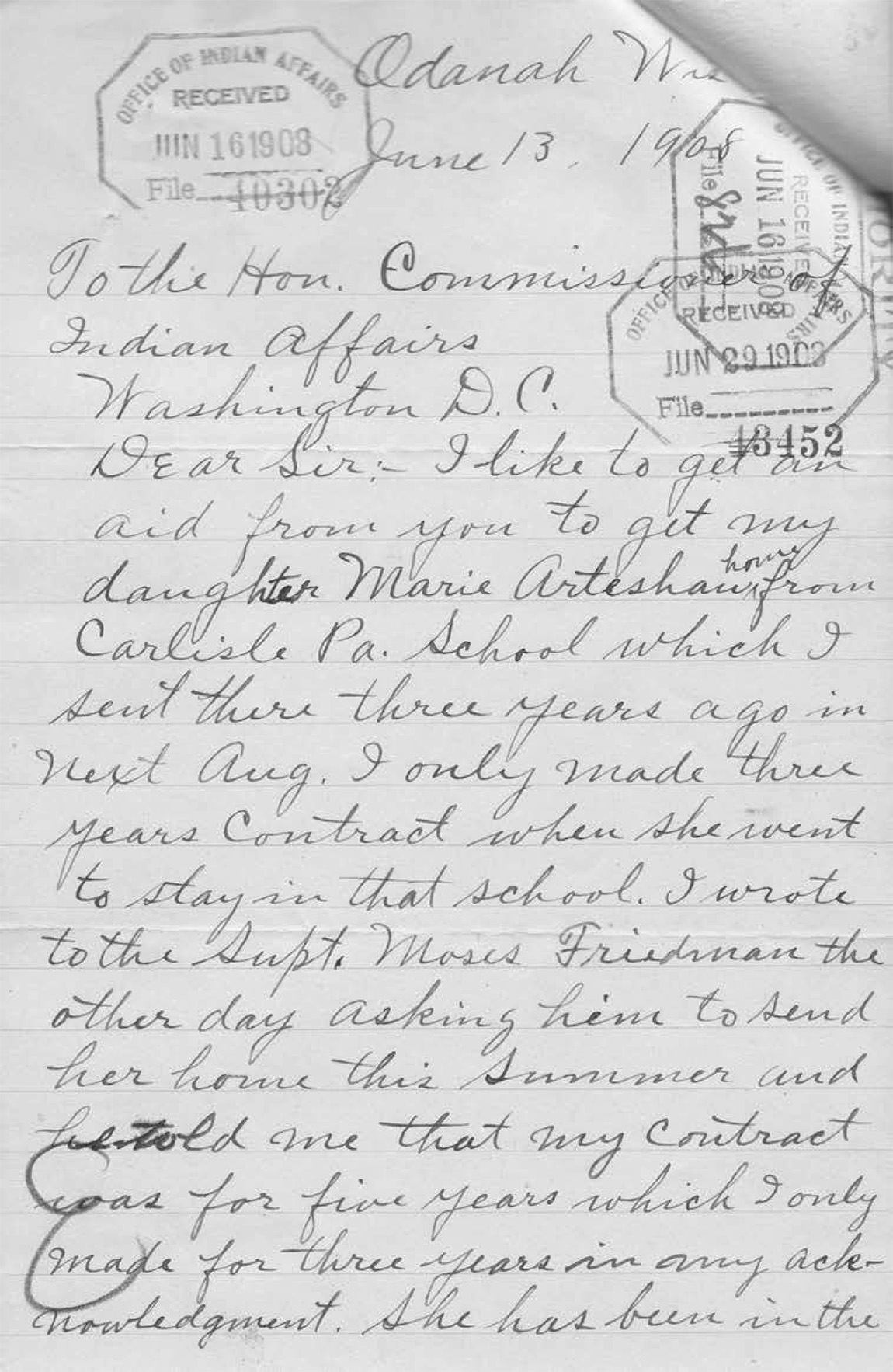 A letter in cursive written by a mother named Theresa Green from the Chippewa Nation to the commissioner of Indian Affairs asking that her daughter be sent home from the Carlisle School since her the 3-year contract there has passed.