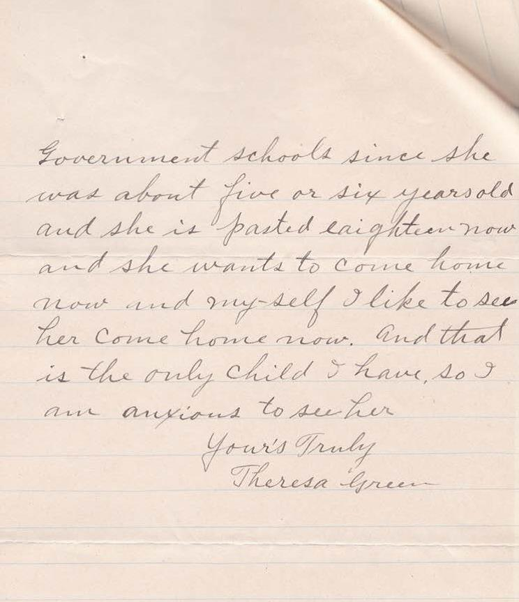 The second page of a letter in cursive written by a mother named Theresa Green from the Chippewa Nation to the commissioner of Indian Affairs asking that her daughter be sent home from the Carlisle School since her the 3-year contract there has passed.