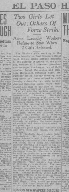 """Newspaper clipping from the """"El Paso Herald"""" covering the story of two laundry workers fired at Acme Laundry and the strikes by other Mexican workers that followed. The newspaper is from October 27, 1919."""