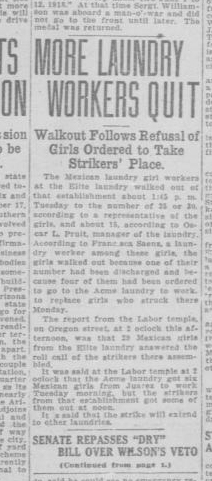"""A newspaper clipping from the """"El Paso Herald"""" covering the continued laundry workers strike. The newspaper is from October 28, 1919."""