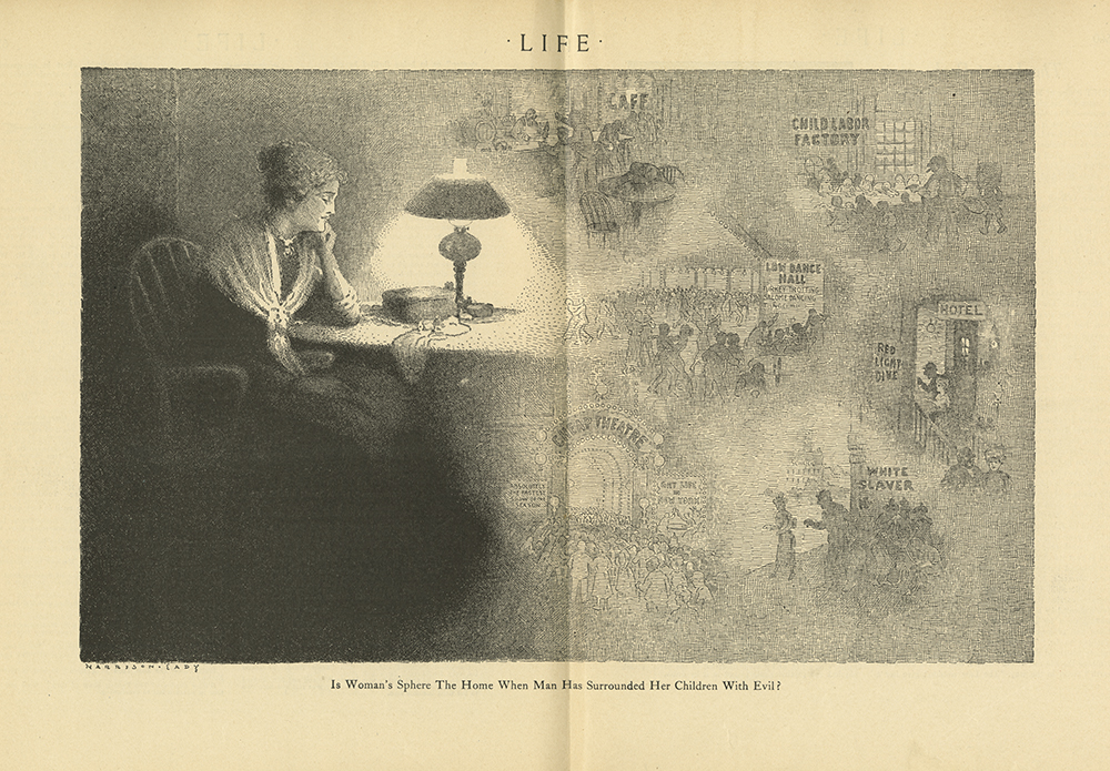 """A """"Life"""" Magazine illustration of a woman sitting down lost in thought. She appears on the left, with her chin resting on her elbow. On the right appear images of the things she is dreaming about. The caption reads: """"Is Woman's Sphere The Home When Man Has Surrounded Her Children With Evil?"""" From her daydreams, these evils appear to range from child labor and red light districts to dance halls and cheap theaters."""