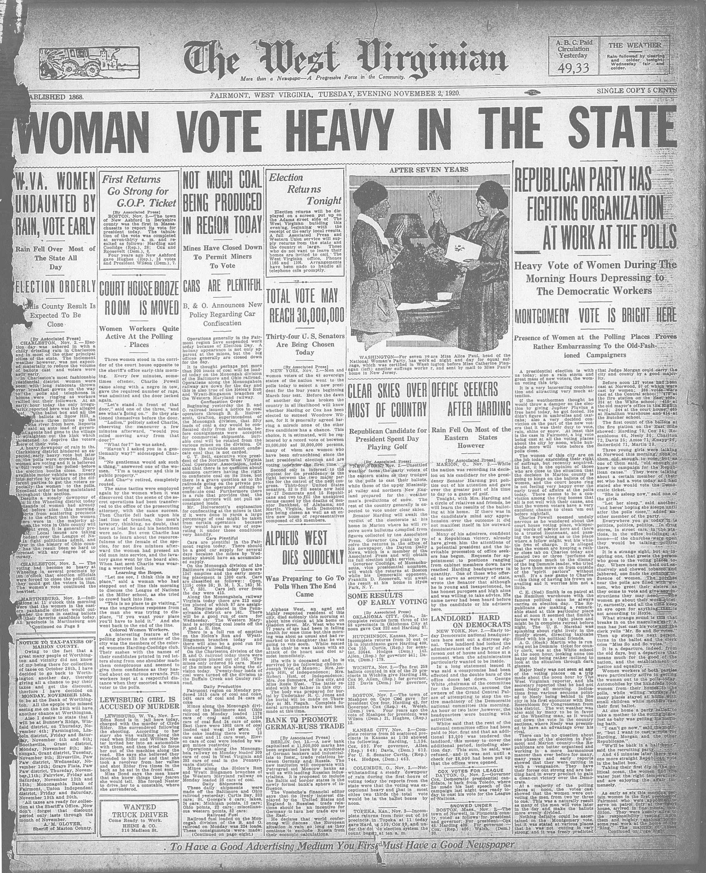 """Frontpage of """"The West Virginian"""" newspaper on Election Day in 1920, the first election women could vote in. The main headline reads: """"Women Vote Heavy in the State."""""""