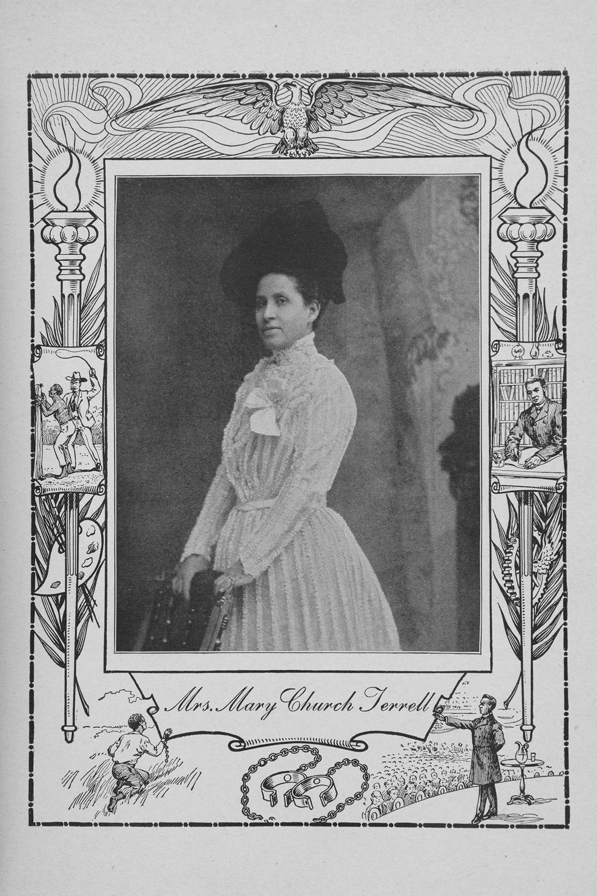An image of Mary Church Terrell wearing a white dress and black hat. She is standing with her hands resting against a chair.